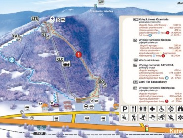 Mapa tras zjazdowych Czantoria