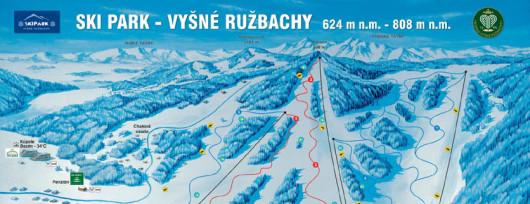 Vysne Ruzbachy - mapa stoku