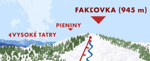 Mapa wyciągów na szczyt Fakl'ovka