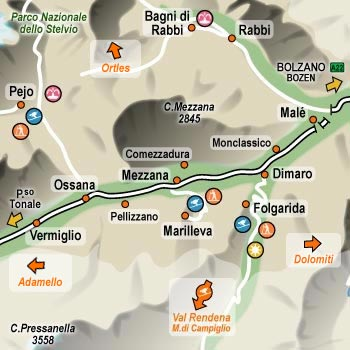Rozmieszczenie wszystkich narciarskich ośrodków w Val di Sole