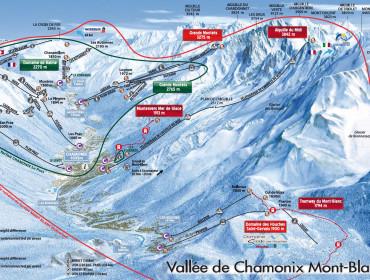mapa ośrodka Chamonix u stóp Mont Blanc