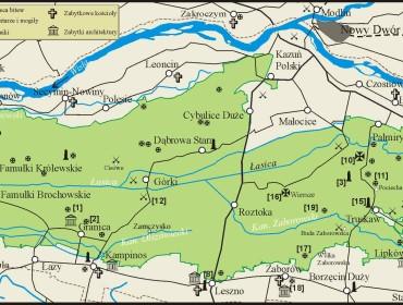 Mapa Kampinosu i najciekawszych w nim obiektów