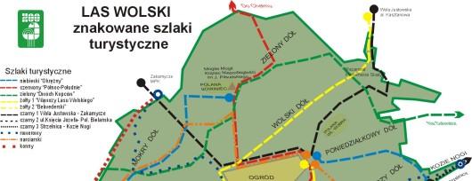 Las Wolski w Krakowie - mapa z zaznaczymi szlakami spacerowymi. Źródło: www.zoo-krakow.pl