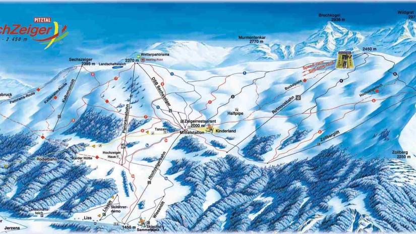 Mapa Hochzeiger - największego z 3 ośrodków narciarskich w dolinie Pitztal