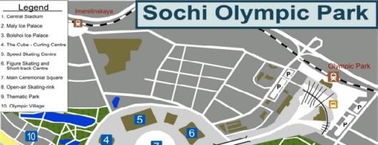 Mapka miasteczka olimpijskiego w Soczi