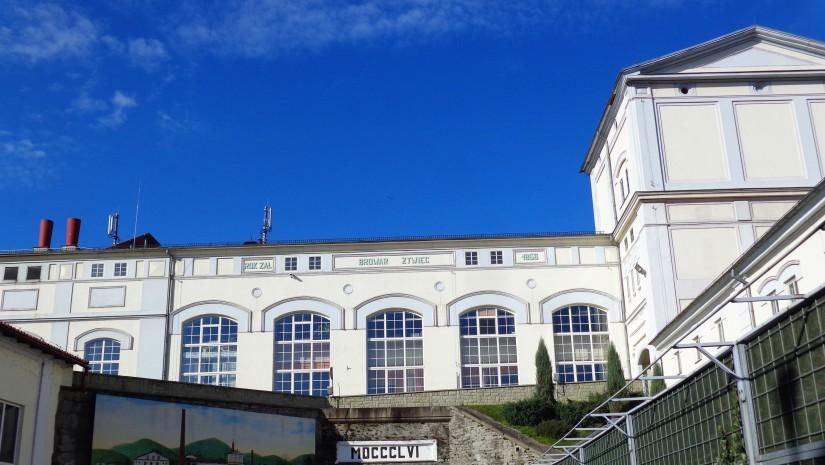 Stary browar w Żywcu i data założenia 1856 r.
