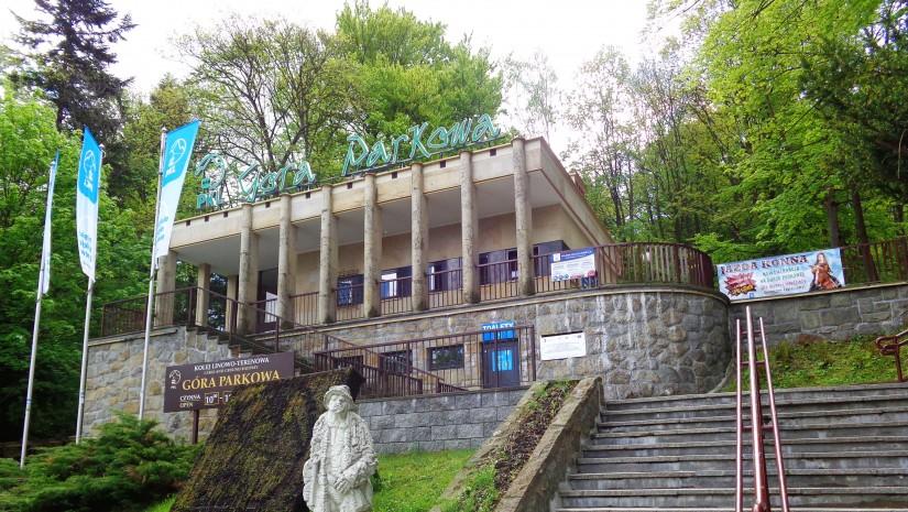 Dolna stacja powstałej w 1937 r. kolejki linowo-terenowej na krynicką Górę Parkową (742 m n.p.m.), pierwszej tego typu w Polsce!
