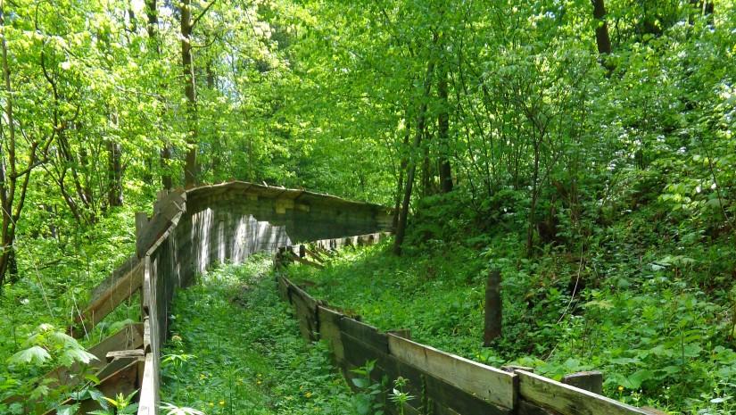 Stary, drewniany, 500-metrowej długości tor saneczkowy na Górze Parkowej, obok krynickiej pijalni wód.